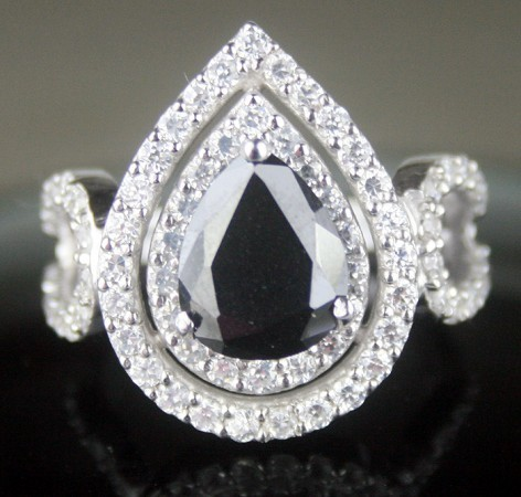 Black diamonds Ring 4.34 Ct Black & White Diamond Pear Shape Sterling Silver Solitaire