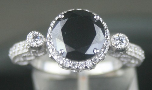 Enhanced Black Diamond 4.26 Carat Diamond Solitaire Ring Solid Gold