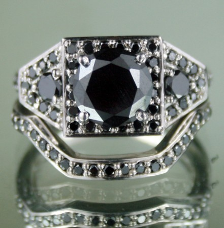 Black Diamond Rings Set 2.32 Ct Black Diamond Round Shape Sterling Silver Wedding