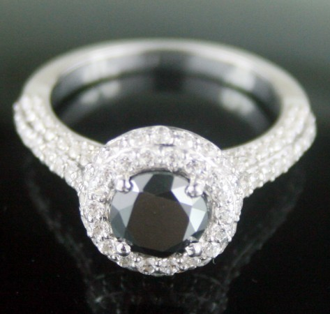Black Diamond Engagement Rings 3.26 Ct Black & White Diamond Round Shape Sterling Silver Solitaire
