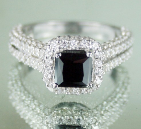 Black Diamond Engagement Rings 4.25 Ct Black Diamond Princess Shape Sterling Silver Solitaire Wedding