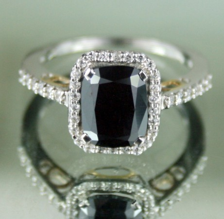Artistry Black Diamond 2.82 Carat Solitaire With Accents Ring Solid Gold