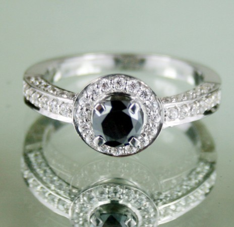 Artistry Black Diamond 1.47 Carat Solitaire Ring wz Accent Solid Gold