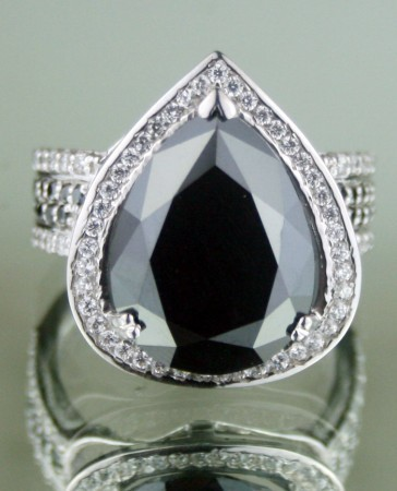 Enhanced Black Diamond Ring 9.67 Ct Black & White Diamond Pear Shape Sterling Silver Solitaire