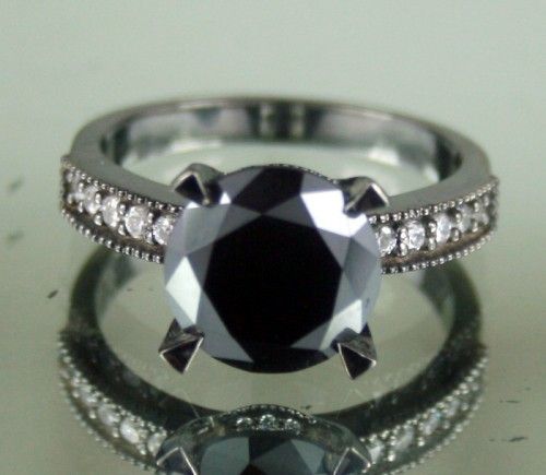 Black diamond Wedding Rings 5.02 Carat Solitaire wz Accent Solid Gold