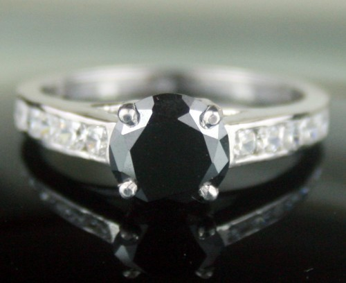 Black Diamond Rings 2.16 Ct Black & White Diamond Round Shape Sterling Silver Solitaire
