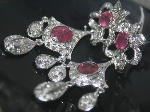 Vintage Drop Earrings 2.765 Carat Natural Certified Diamond Ruby 925 Sterling Silver Chandelier Workwear