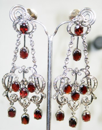 2.00Carat Natural Diamond Granet Chandelier Earrings