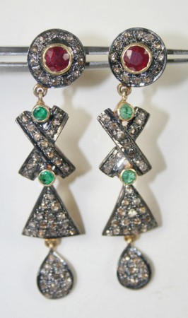 Victorian Earrings 0.86 Carat Natural Certified Diamond Gemstone Chandelier Festive