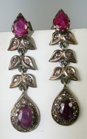 Antique Earrings 0.48 Ct Natural Certified Diamond Ruby Chandelier Weekend