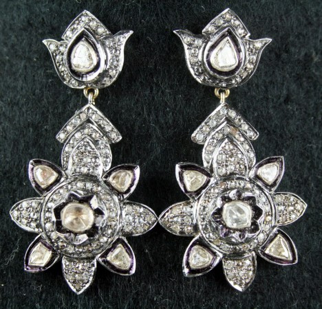 Art Deco Earrings 2.35 Ct Natural Certified Diamond Gold Everyday