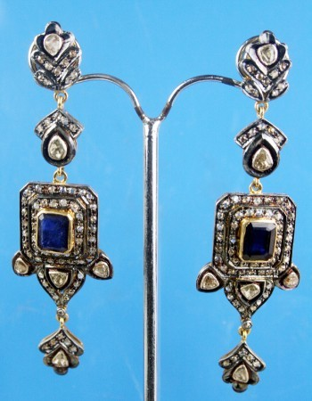 Vintage Diamond Earrings 2.72 Ct Natural Certified Diamond B.Sapphire Gold Chandelier Workwear