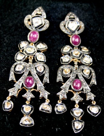 3.54 Ct Diamond Gold Antique Reproduction Earrings