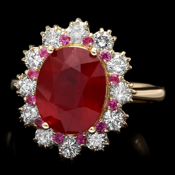 Diamond Gemstone Rings 0.60 Ct Ruby/Tourmaline 2.60 Ct 14K Solid Gold Natural Certified