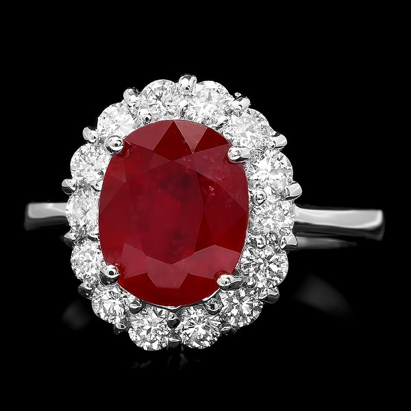 Ruby Diamond Ring 0.75 Ct Gemstone 1.00 Ct 14K Gold Wedding Natural Certified