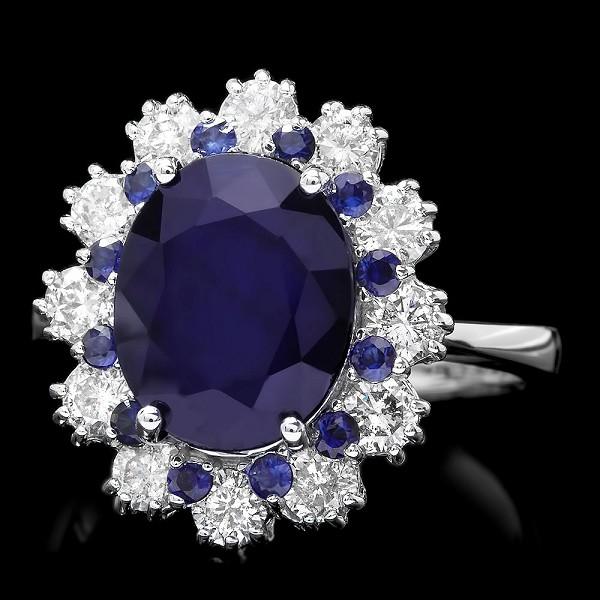 Sapphire Diamond Ring 0.60 Ct Gemstone 2.60 Ct 14K Soldi Gold Natural Certified