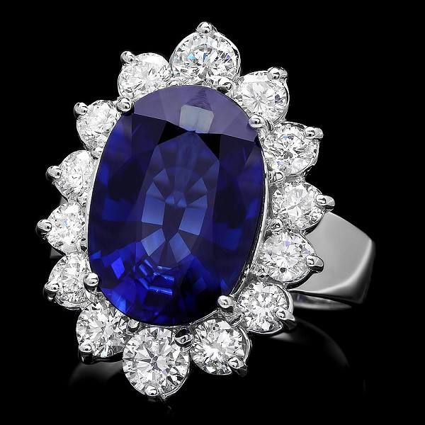 Diamond Gemstone Rings 0.80 Ct Blue Sapphire 2.00 Ct 14K Gold Natural Certified