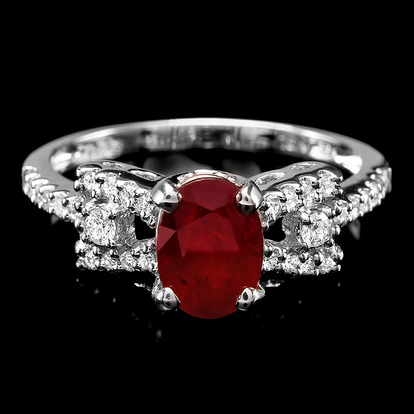 Ruby Diamond Ring 0.75 Ct Gemstone 1.25 Ct 14K Solid Gold Wedding Natural Certified