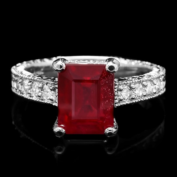 Gemstone Ring 0.55 Ct Diamond Ruby 1.20 Ct 14K Solid Gold Wedding Natural Certified