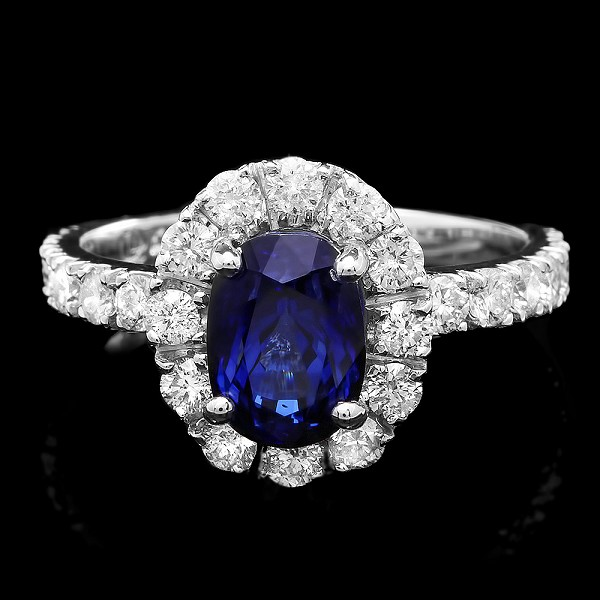 Sapphire Diamond Ring 0.75 Ct Gemstone 1.60 Ct 14K Solid Gold Natural Certified