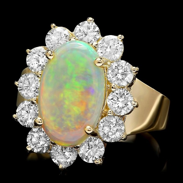 Gemstone Ring 1.00 Ct Diamond Opal 3.60 Ct 14K Solid Gold Natural Certified