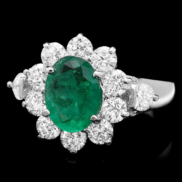 Gemstone Ring 0.75 Ct Diamond Emerald 1.40 Ct 14K Solid Gold Wedding Natural Certified