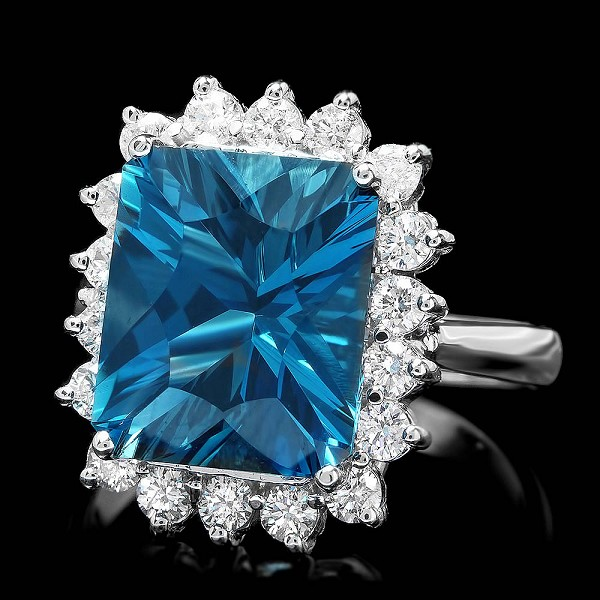 Gemstone Ring 0.75 Ct Diamond 3.75 Ct Blue Topaz 14K Solid Gold Natural Certified
