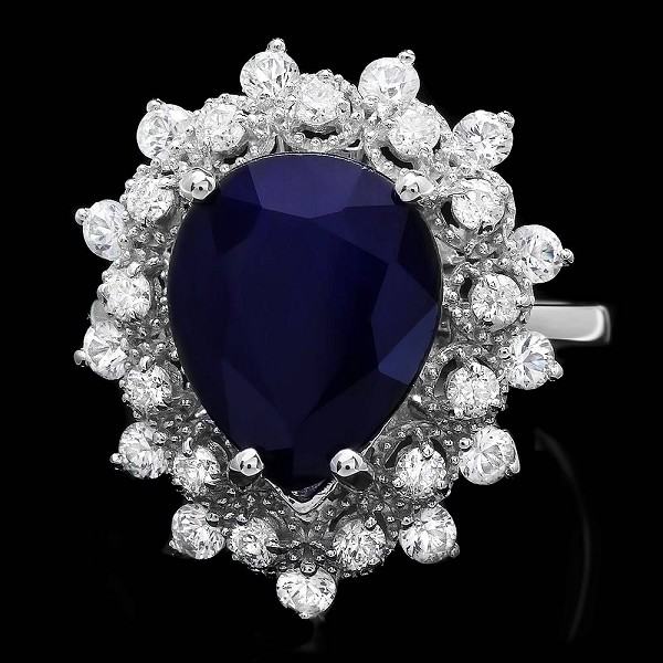 Sapphire Diamond Ring 1.00 Ct Gemstone 2.20 Ct 14K Solid Gold Wedding Natural Certified