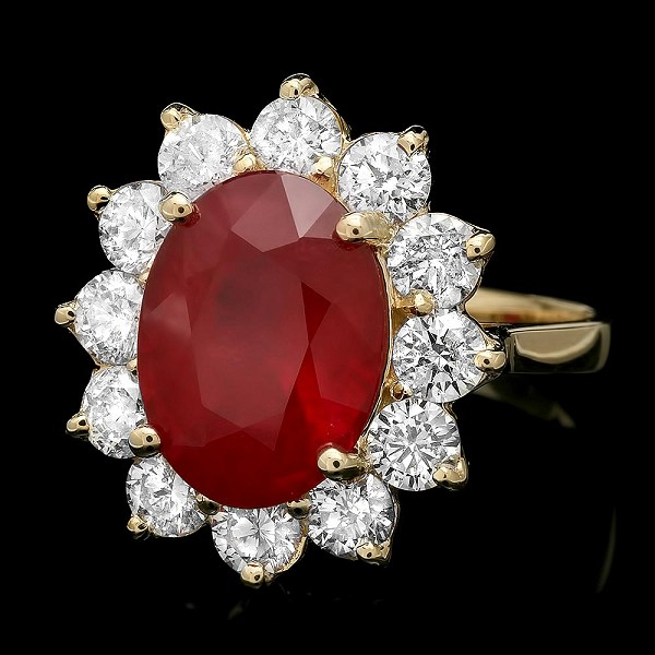 Ruby Diamond Ring 1.00 Ct Gemstone 2.50 Ct 14K Solid Gold Natural Certified