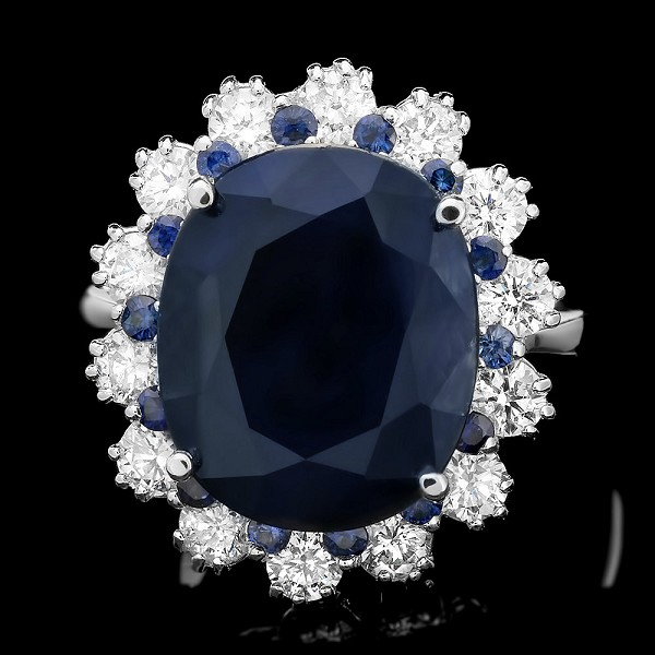 Sapphire Diamond Ring 0.65 Ct Gemstone 3.60 Ct 14K Solid Gold Wedding Natural Certified