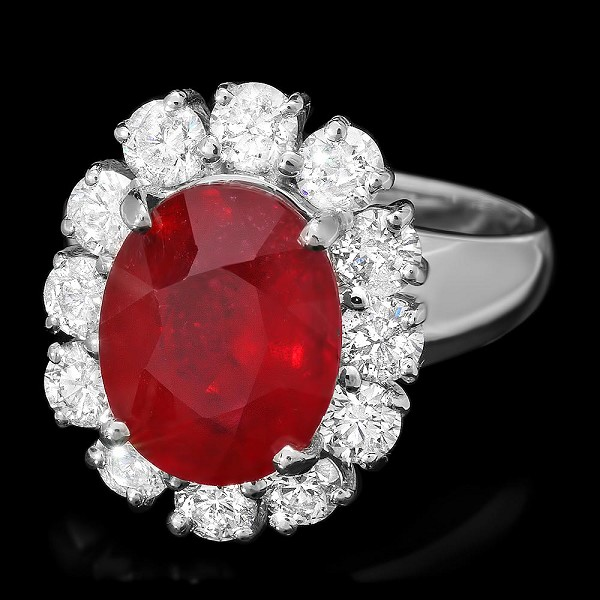 Diamond Gemstone Rings 0.70 Ct Ruby 2.70 Ct 14K Solid Gold Wedding Natural Certified