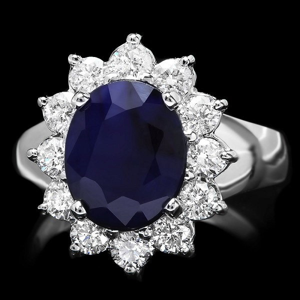 Diamond Gemstone Rings 0.60 Ct Blue Sapphire 2.25 Ct 14K Solid Gold Natural Certified