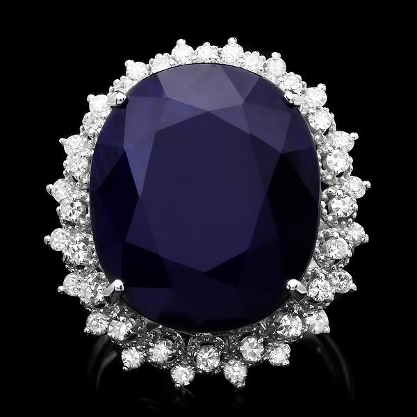 Sapphire Diamond Ring 1.00 Ct Gemstone 2.60 Ct 14K Solid Gold Natural Certified