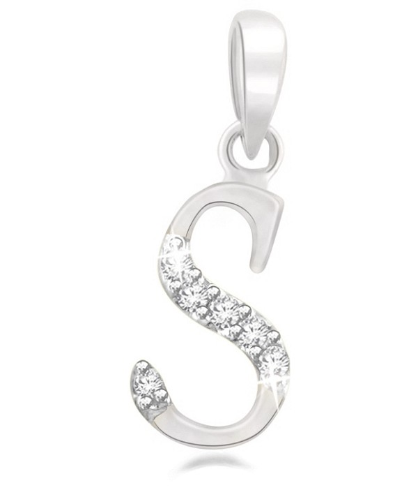 "diamond initial Necklace 0.10Ct White Gold ""S"" Initial Pendant Natural Certified"