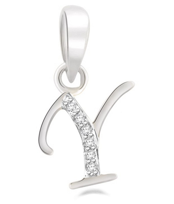 "Diamond Initial Pendant 0.10Ct White Gold ""Y"" Letter Necklace Natural Certified"