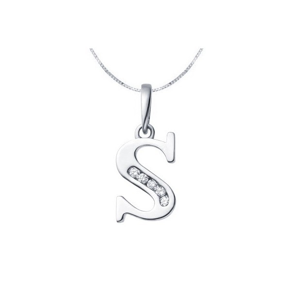 "Diamond Initial Charms 0.05Ct White Gold ""S"" Shape Natural Certified"