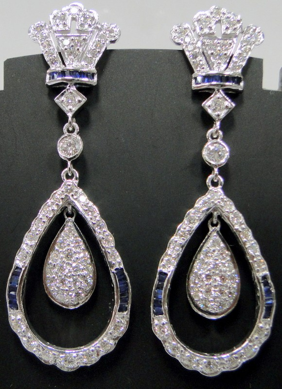 Diamond Gemstone Earrings 1.00Ct Blue Sapphire 0.60Ct Natural Certified Solid Gold