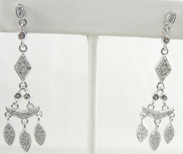 Diamond Chandelier Earrings 0.80Ct Natural Certified Solid White Gold