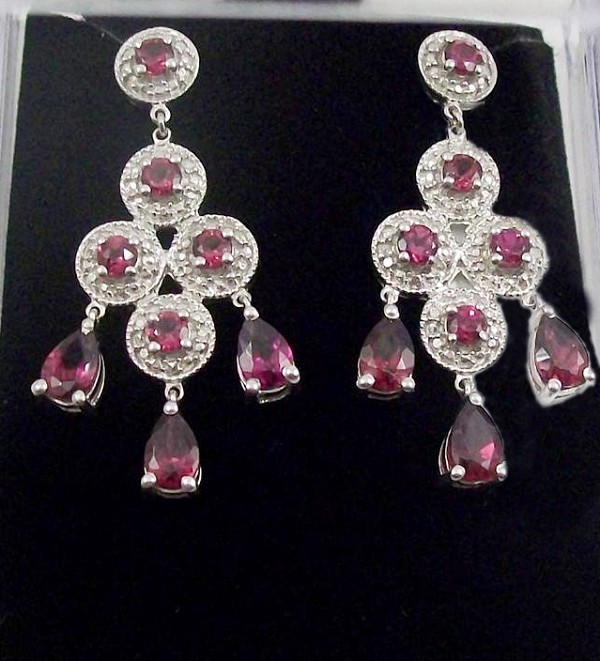 Chandelier Earrings 2.00Ct Diamond 5.20Ct Pink Tourmaline Natural Certified Solid Gold