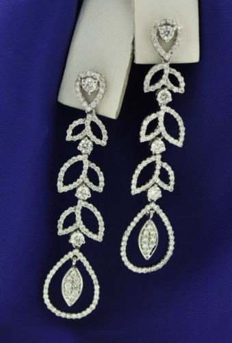 Diamond Chandelier Earrings 4.00Ct Natural Certified Solid White Gold