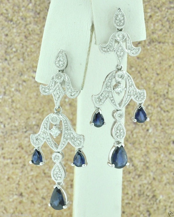 Sapphire Earrings 1.00Ct Diamond 2.00Ct Blue Sapphire Natural Certified Solid Gold
