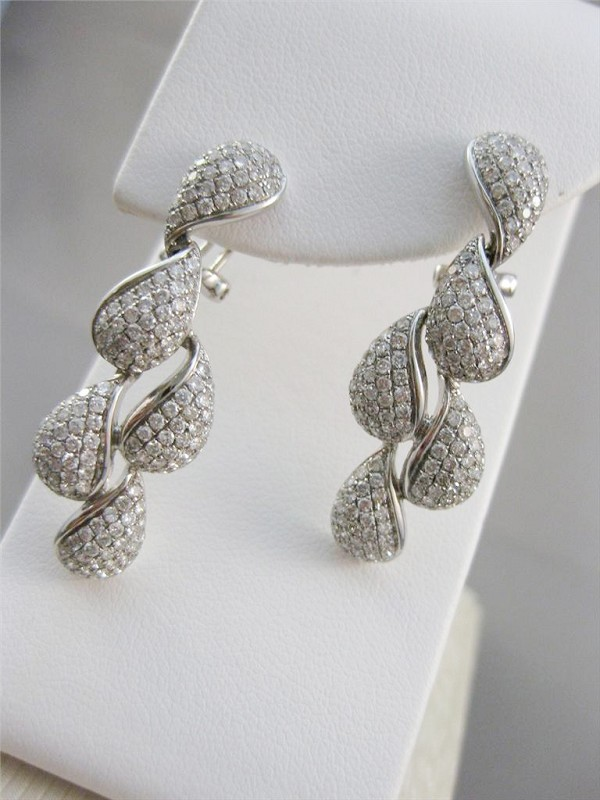 Diamond Chandelier Earrings 3.00Ct Natural Certified Solid White Gold
