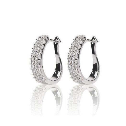 Hoops Diamond Earrings 1.50 Ct Natural Certified Solid Gold