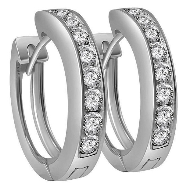 Diamond hoops Earrings 1.00 Ct Gh - Si2 14K Natural Certified Solid Gold
