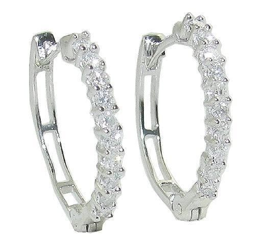 Diamond hoops Earrings 1.00 Ct 14K Natural Certified Solid Gold