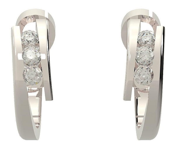 Hoops Diamond Earrings 0.42 Ct 14K Gold