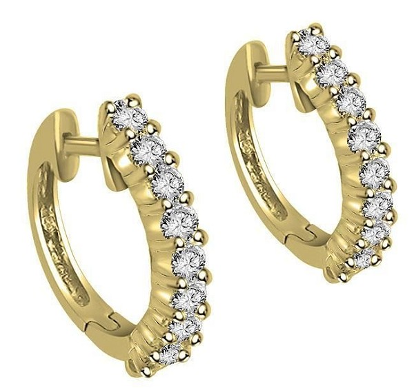 White Gold Hoop Earrings 0.42 Ct 14K Natural Certified Solid Gold