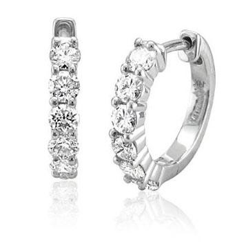 Diamond Hoops 0.60 Ct Hi 14K Natural Certified Solid Gold Earrings