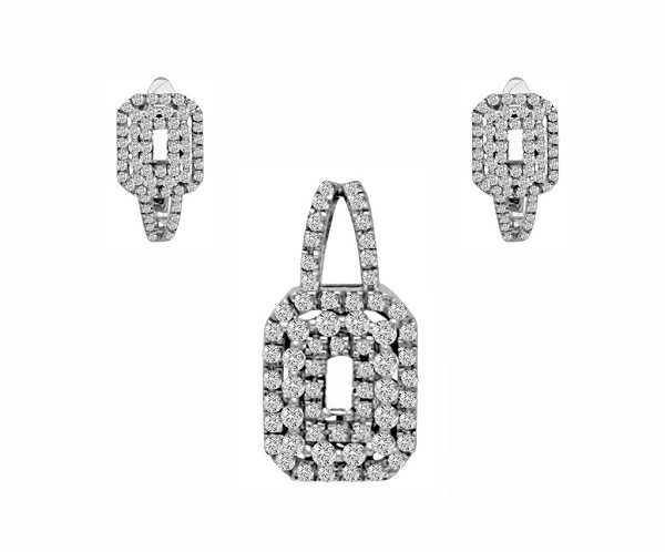 Gold Pendant Set With Earrings 2.00 Ct Solid White Gold Natural Certified
