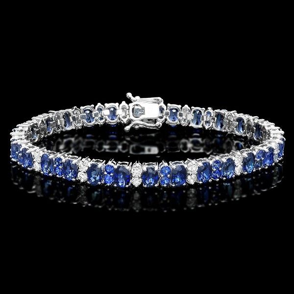 Blue Sapphire Bracelets 1.50 Ct Diamond 13.20 Ct Gemstone Solid Gold Natural Certified